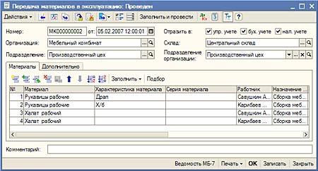 Передача материалов в эксплуатацию проводки спецодежда